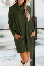 Green Cowl Neck Long Sleeve Pocketed Knit Mini Dress