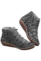 حذاء ليوبارد بسحاب جانبي رمادي