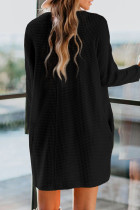 Black Cowl Neck Long Sleeve Pocketed Knit Mini Dress