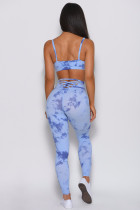 Sky Blue Tie-dye Crisscross Sport Bra and Leggings Set