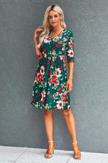 Green Floral 4/3 Sleeve Wrap Dress