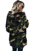 Green Camo Print Soft Fleece Hooded Open Front Coat