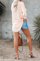 เสื้อเบลาส์ผ้าลินินลายทางสีส้มกระดุมลงพร้อมกระเป๋า