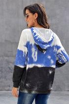 Himmelblå gradient hættetrøje med langærmet