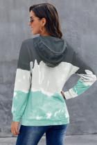 Grøn gradient langærmet pullover-hættetrøje