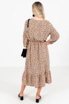 Brązowa sukienka midi w kropki