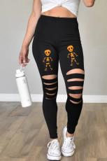Leikatut luurankopainetut Halloween-leggingsit