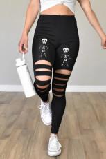 Musta leikattu luuranko Halloween-leggingsit