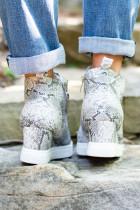 Grå Wedge Sneakers med dragkedja