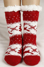 Red Christmas Statement Printed Knit Socks