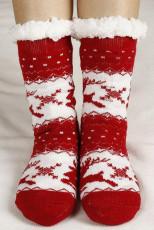 """Красные вязаные носки с принтом """"Рождество"""""""