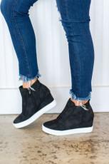 Sepatu Wedge Penutupan Zip Hitam