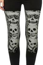 Musta korkea vyötäröinen kallo-painatus Halloween-leggingsit