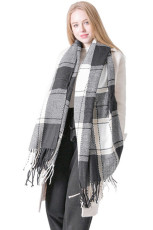 Black Fringed Plaid Pattern Scarf