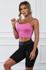 Ροζ Ασύρματο χωρίς ραφή Sport Yoga Bra Crop Tank