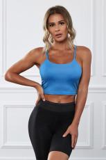 Sujetador deportivo sin costuras inalámbrico azul para yoga