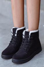 حذاء بوت مسطح برباط وجلد مدبوغ أسود