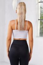Witte draadloze naadloze sport yoga bh crop tank