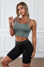 Camiseta sin mangas con sujetador deportivo sin costuras para yoga verde inalámbrica