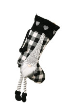 Black Christmas Plaid Gnome Snowflake Heart Hanging Ornament Sock