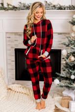 ลายสก๊อตสีแดง Drawstring ชุดเลานจ์คลุมด้วยผ้าคริสต์มาส