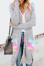 Slipsfarvet patchwork lang stribet cardigan med lommer