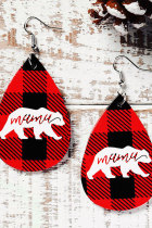 Christmas Buffalo Plaid Mama Bear Water Drop Örhängen