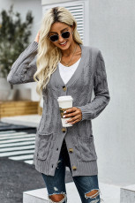 Cardigan Grey Button Pocket Knit