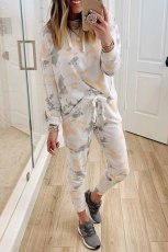 White Tie Dye Casual Hooded Top & Drawstring Pants Set