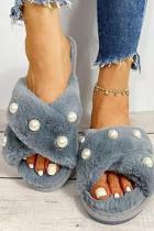 Blauwe geparelde kriskras vamp harige pantoffels