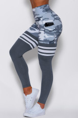 Gray Camo Print Striped Sport Pants