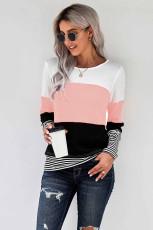 Розовый стильный топ с цветными блоками и полосами