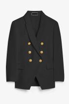 Blazer negro con botones y manga larga de doble botonadura