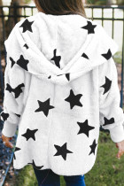 White Lapel Collar Scatter Star Fuzzy Coat