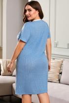 Sininen V-päänappi Polka Dots Lyhythihainen Plus-kokoinen Loungewear