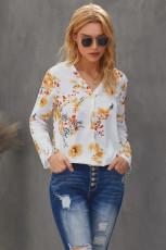 เสื้อเบลาส์คอวีพิมพ์ลายดอกไม้ฤดูร้อน