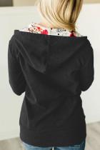 Fekete, teljes cipzáras pulóver kabát virágmintás kapucnis belsővel