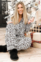 Langarm-Zweiteiler-Loungewear mit Leopardenmuster