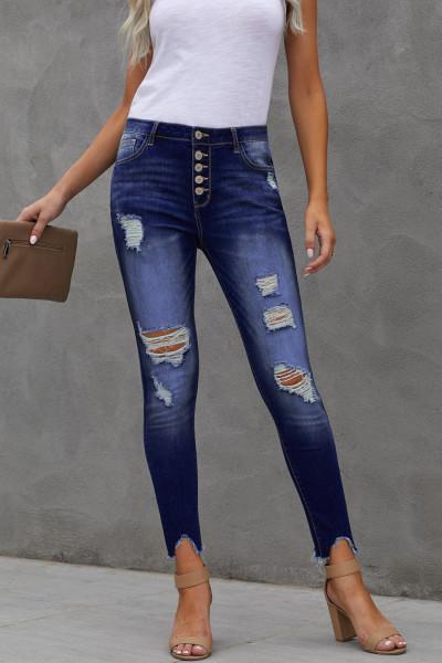 Blå High Rise-knap Front Frayed Ankle Skinny Jeans
