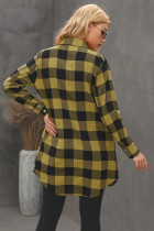 Yellow Turn-down Collar Plaid Shirt Coat
