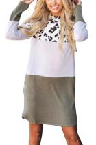 Green Leopard Color Block Splicing Long Sleeve Cotton Mini Dress