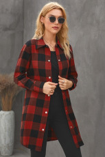 Rød Turn-down Collar Plaid Shirt Coat