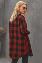Red Turn-down Collar Plaid Shirt Coat