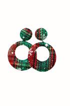 Vihreä ruudullinen tekstuuri joulu ympyrä korvakorut