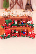 قطار خشبي أخضر زينة عيد الميلاد هدية عيد الميلاد