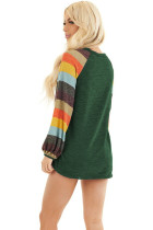 Multicolor Striped Balloon Sleeves Green Knit Top