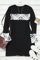 Black Plaid Splicing O-Neck Mini Dress