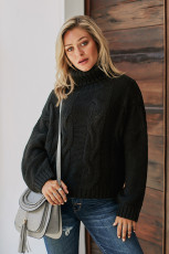 Μαύρο Cuddle Καιρός Καλώδιο Knit Χειροποίητο πουλόβερ πουλόβερ