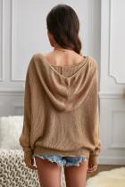 Sweater Padat Berkerudung V-neck Khaki Zipper Lengan Jatuh