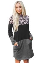 Gaun Mini Katun Lengan Panjang Leopard Color Block Splicing